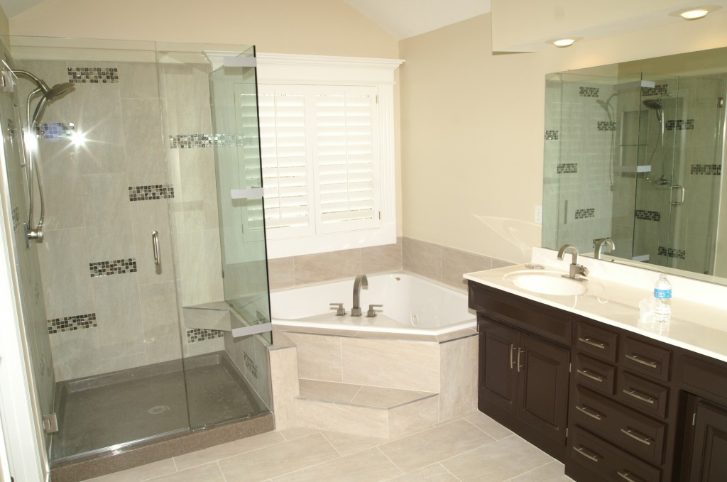 bathroom remodel refinished bathroom vanities new glass and tile shower artisan construction - Bathroom Remodel Design Ideas