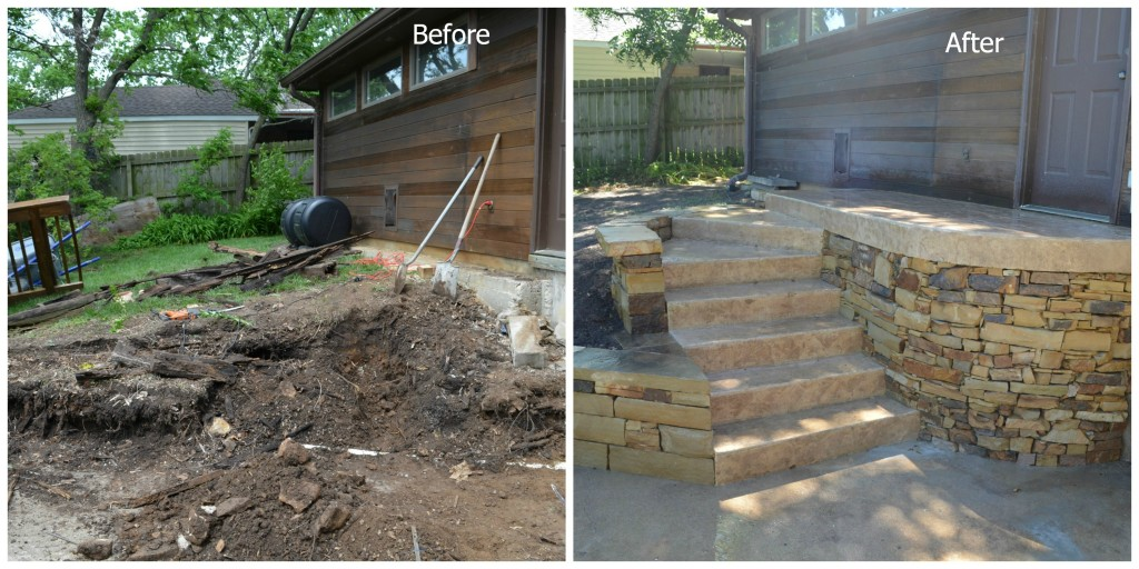 Retaining Wall Before and After by General Contractors, Artisan Construction, 7321 N Antioch Gladstone, MO  64119