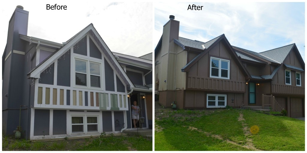 Before and After siding and exterior remodel by Artisan Construction, 7321 N Antioch Gladstone, MO  64119